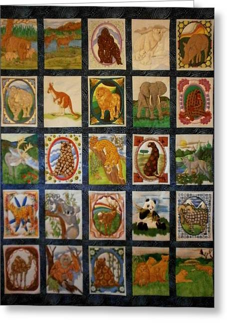 Wall Hanging Quilt Tapestries - Textiles Greeting Cards - Wild Ones Greeting Card by Linda Egland