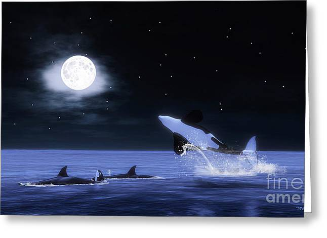 Orca Digital Art Greeting Cards - Wild Orcas Greeting Card by Methune Hively