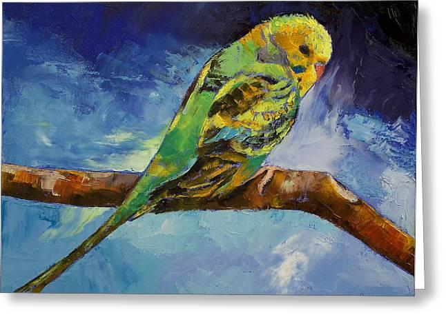 Parakeet Paintings Greeting Cards - Wild Parakeet Greeting Card by Michael Creese