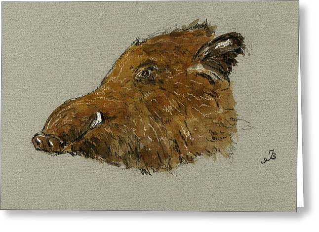 Boars Greeting Cards - Wild pig Greeting Card by Juan  Bosco