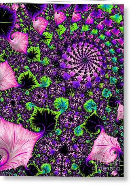 Wild Pink Swirl Greeting Card by Linda Troski