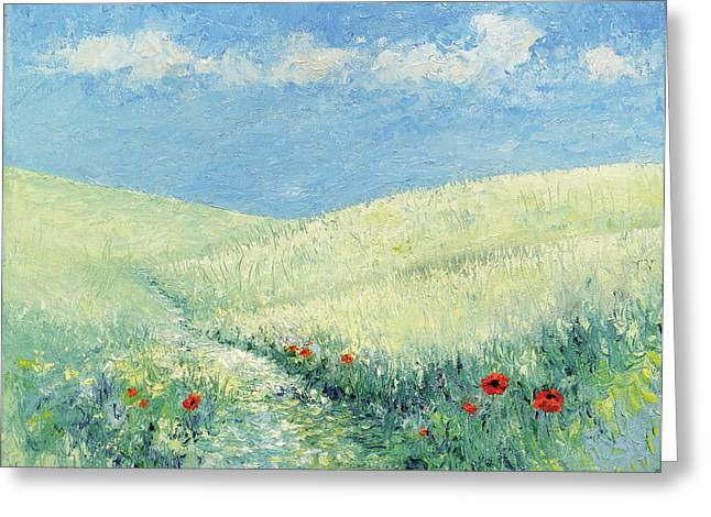 Pallet Knife Greeting Cards - Wild Poppies #2 Greeting Card by Gail Fields