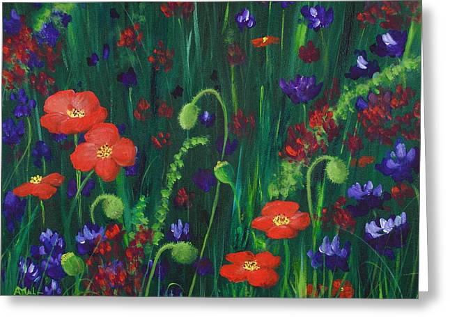 Get Drawings Greeting Cards - Wild Poppies Greeting Card by Anastasiya Malakhova