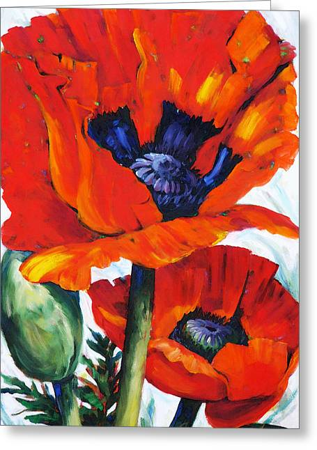 Country Cottage Mixed Media Greeting Cards - Wild Poppies - Floral Art By Betty Cummings Greeting Card by Betty Cummings