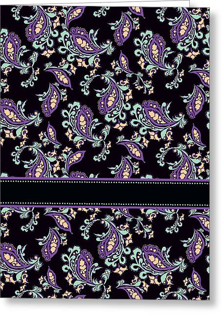 Wild Purple Paisley Greeting Card by Jenny Armitage