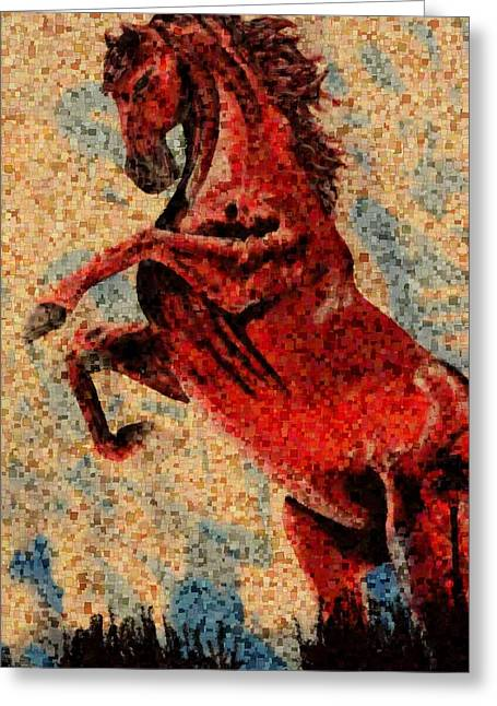 Two Spirit Greeting Cards - Wild Red horse Greeting Card by Toppart Sweden
