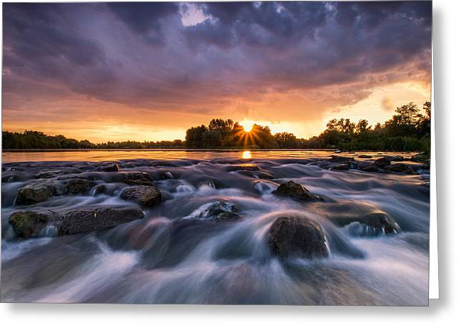 Gorgeous Sunset Greeting Cards - Wild river II Greeting Card by Davorin Mance
