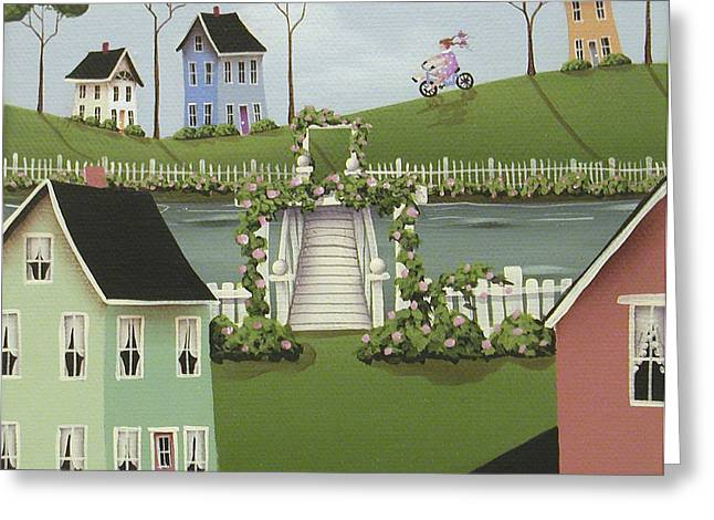 Country Cottage Greeting Cards - Wild Rose Crossing Greeting Card by Catherine Holman