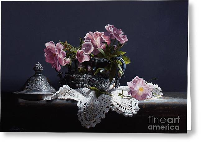 Doily Greeting Cards - Wild Roses In Silver Greeting Card by Larry Preston