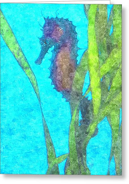 Undersea Photography Digital Art Greeting Cards - Wild Seahorse Greeting Card by Susan Molnar