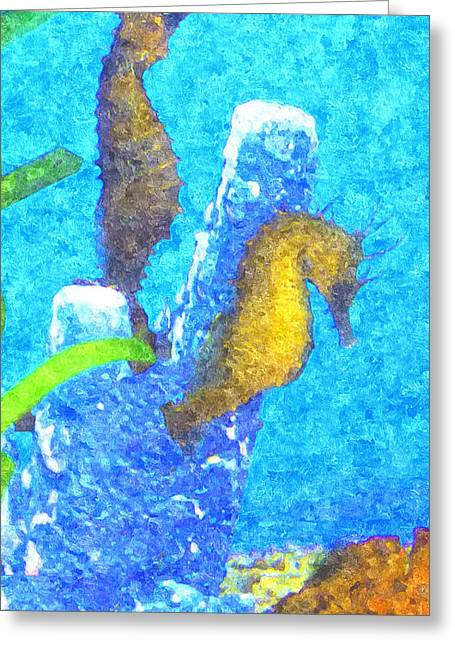 Undersea Photography Digital Art Greeting Cards - Wild Seahorses Greeting Card by Susan Molnar