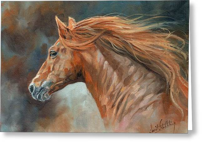 Wild Horses Paintings Greeting Cards - Wild Stallion Greeting Card by David Stribbling
