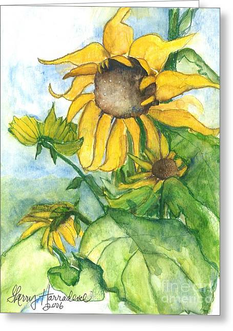 Wild Orchards Paintings Greeting Cards - Wild Sunflowers Greeting Card by Sherry Harradence
