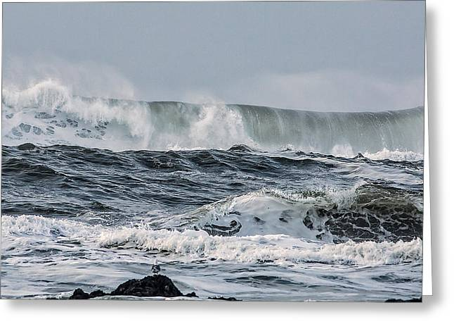 Wave Tapestries - Textiles Greeting Cards - Wild Surf Greeting Card by Dennis Bucklin