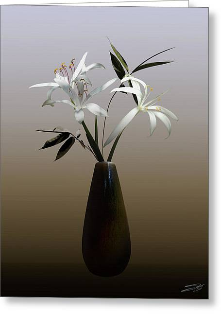 Wild Swamp Lily In Vase Greeting Card by Schwartz