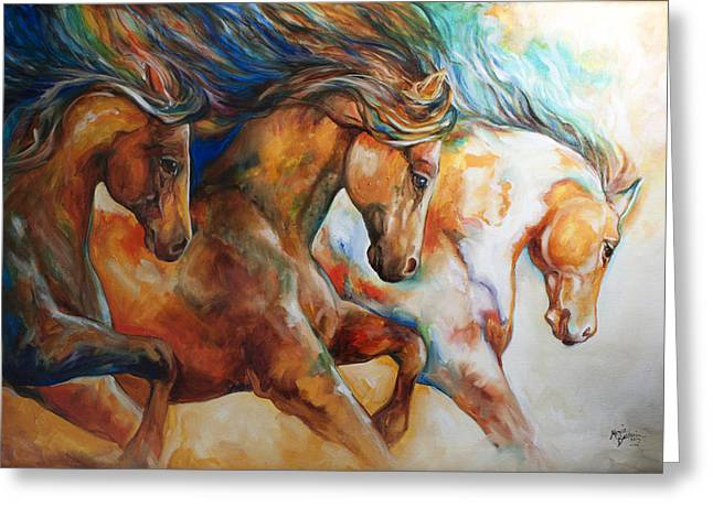 Wild Horses Greeting Cards - Wild Trio Run Greeting Card by Marcia Baldwin