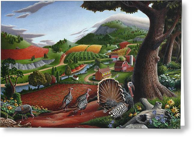 Amish Scenes Greeting Cards - Wild Turkeys Appalachian Thanksgiving Landscape - Childhood Memories - Country Life - Americana Greeting Card by Walt Curlee