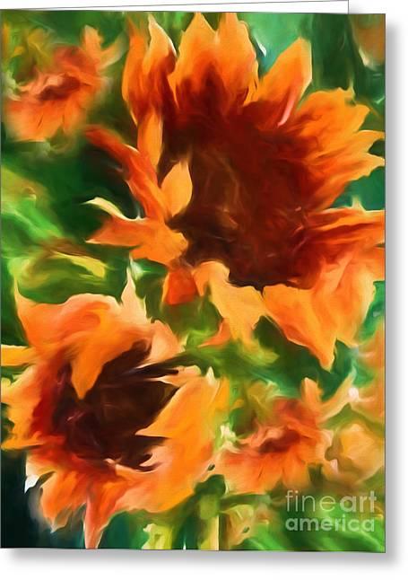 Wild Vibrant Sunflowers Greeting Card by Georgiana Romanovna