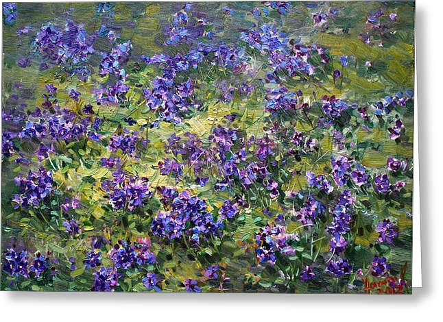 Purple Flower Greeting Cards - Wild Violets  Greeting Card by Ylli Haruni