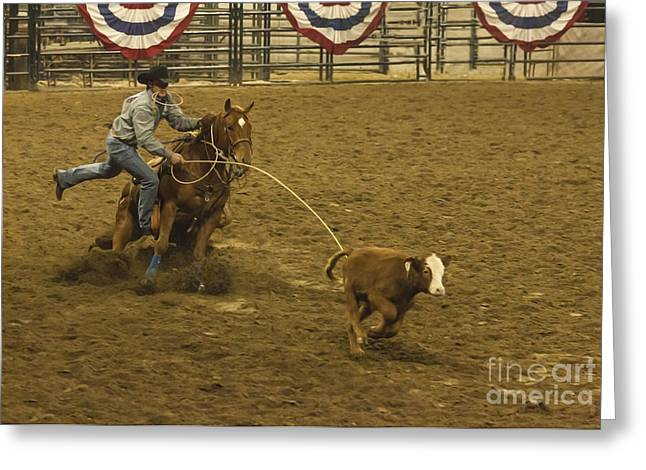 Western Tie Greeting Cards - Wild West Calf Roping Greeting Card by Janice Rae Pariza