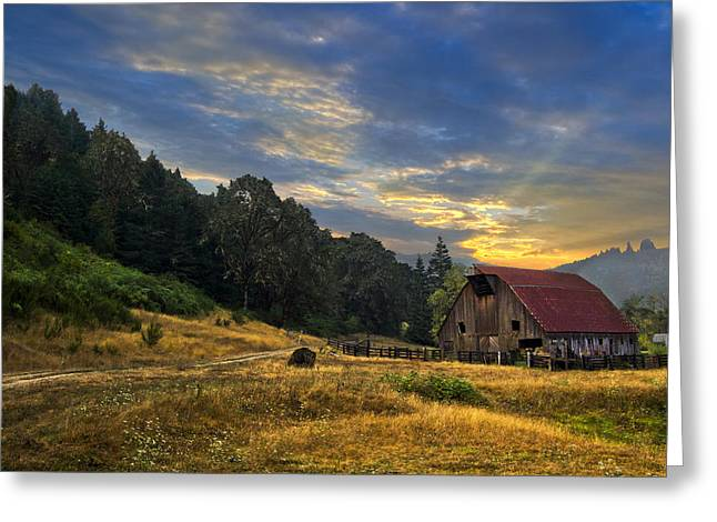 Foggy Beach Greeting Cards - Wild West Farm Greeting Card by Debra and Dave Vanderlaan