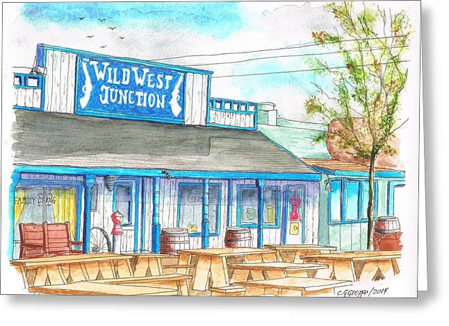 Saloons Paintings Greeting Cards - Wild West Junction Saloon in Route 66 Williams - California Greeting Card by Carlos G Groppa