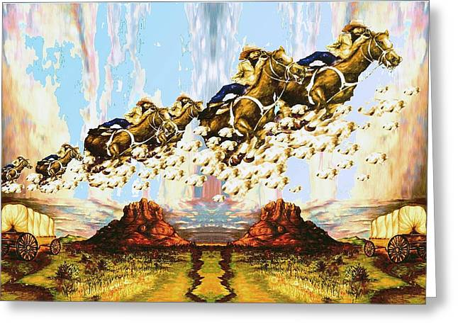 American Cowboy Gallery Greeting Cards - Wild West Skyriders - Western Art Greeting Card by Peter Fine Art Gallery  - Paintings Photos Digital Art