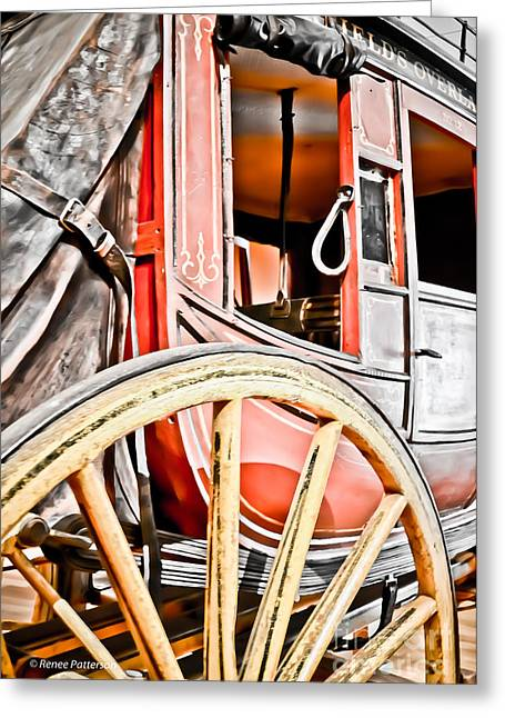 Old Western Photos Greeting Cards - Wild West Taxi Greeting Card by Renee Patterson