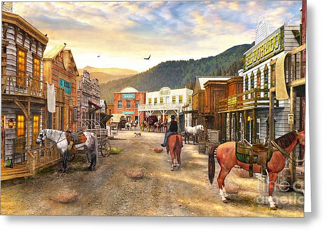 Gold Rush Greeting Cards - Wild West Town Greeting Card by Dominic Davison