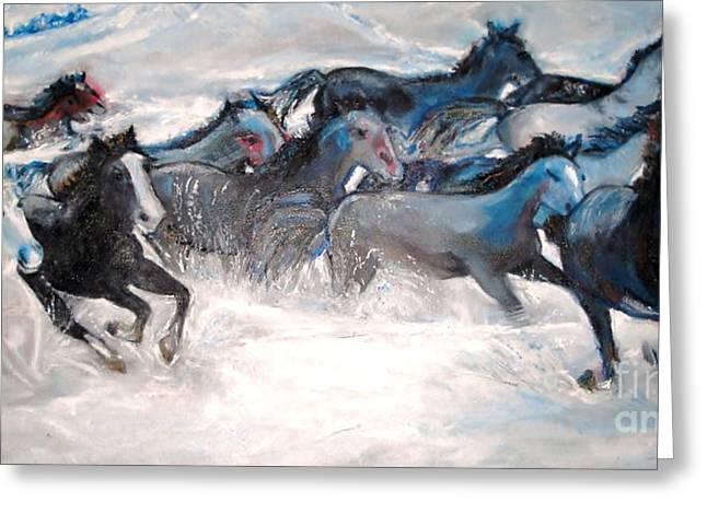 Helena Bebirian Greeting Cards - Wild Wild Horses Greeting Card by Helena Bebirian