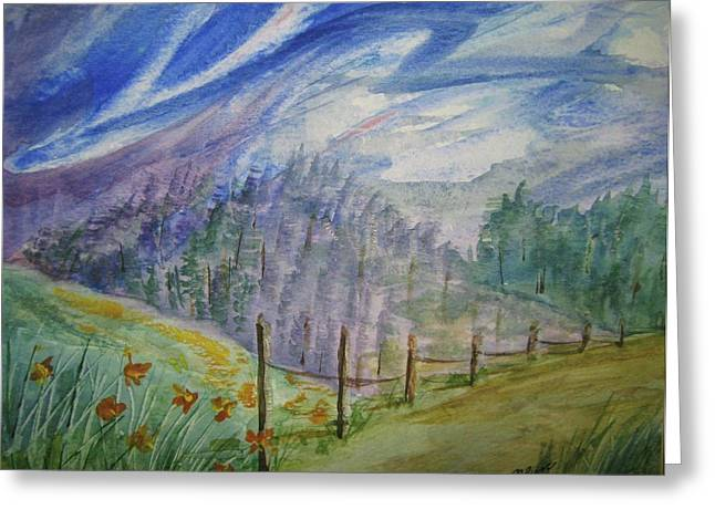 Split Rail Fence Paintings Greeting Cards - Wild Winds Greeting Card by Ellen Levinson