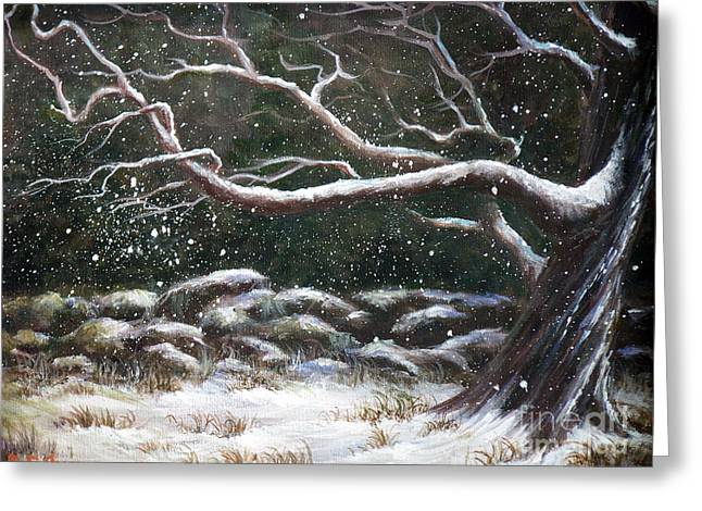 Snow Drifts Paintings Greeting Cards - Wild Winter Greeting Card by Deborah Smith