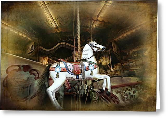 Barbara Orenya Greeting Cards - Wild wooden horse Greeting Card by Barbara Orenya