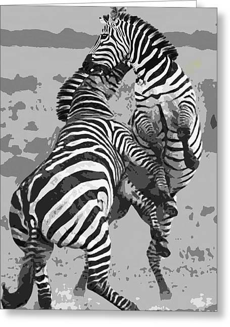 Ferocity Greeting Cards - Wild Zebras Greeting Card by Daniel Hagerman