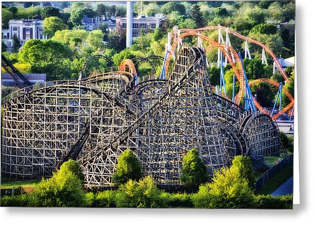 Wooden Coaster Greeting Cards - Wildcat Roller Coaster - Hershey Park Greeting Card by Bill Cannon