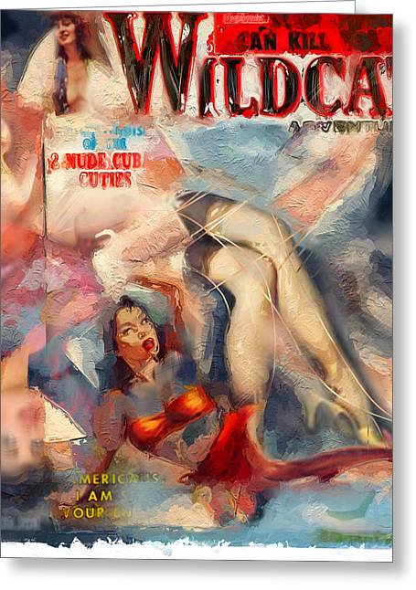 Magazine Cover Mixed Media Greeting Cards - Wildcat Greeting Card by Russell Pierce