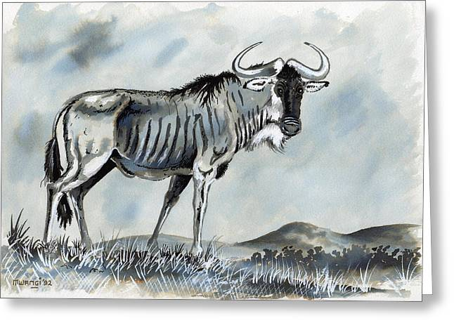 Hippopotamus Drawings Greeting Cards - Wildebeest Greeting Card by Anthony Mwangi