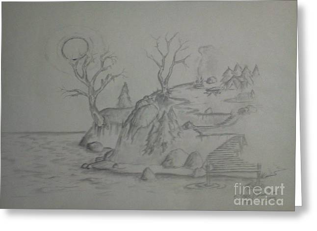 Chevalier Drawings Greeting Cards - Wilderness Camp Greeting Card by Troy Chevalier