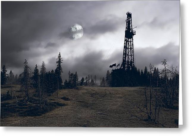 Oil Platform Greeting Cards - Wilderness Energy Greeting Card by Daniel Hagerman