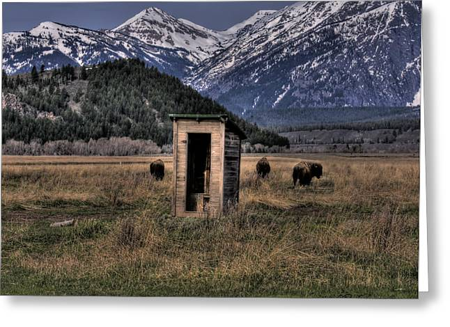 Courson Greeting Cards - Wilderness Outhouse Greeting Card by CR  Courson