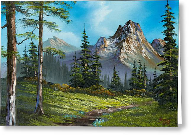 Bob Ross Paintings Greeting Cards - Wilderness Trail Greeting Card by C Steele