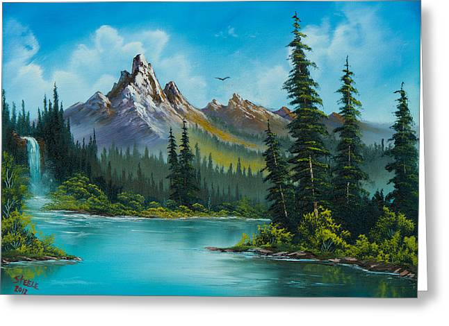 Bob Ross Paintings Greeting Cards - Wilderness Waterfall Greeting Card by C Steele