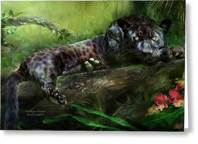 Wildeyes - Panther Greeting Card by Carol Cavalaris