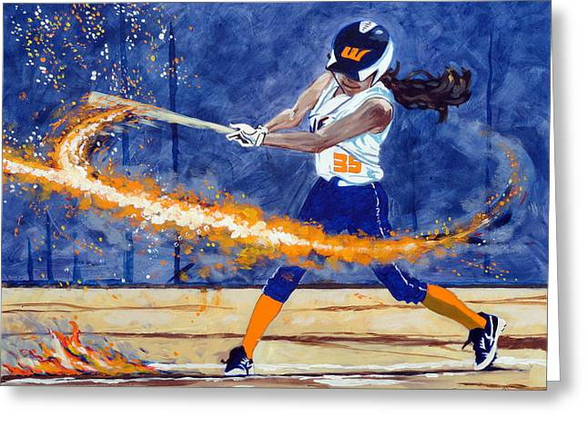 Softball Paintings Greeting Cards - Wildfire Burn It Up Greeting Card by Darrell Sheppard