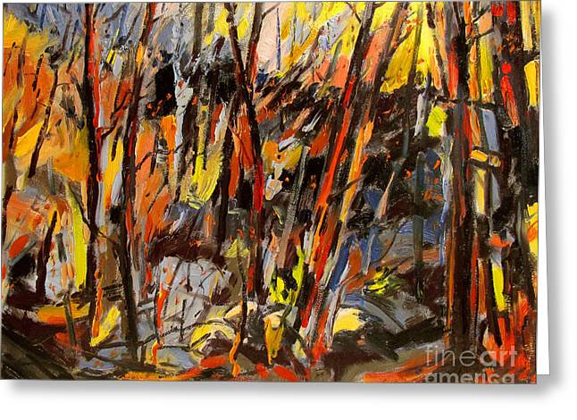 Strike Paintings Greeting Cards - Wildfire Greeting Card by Charlie Spear