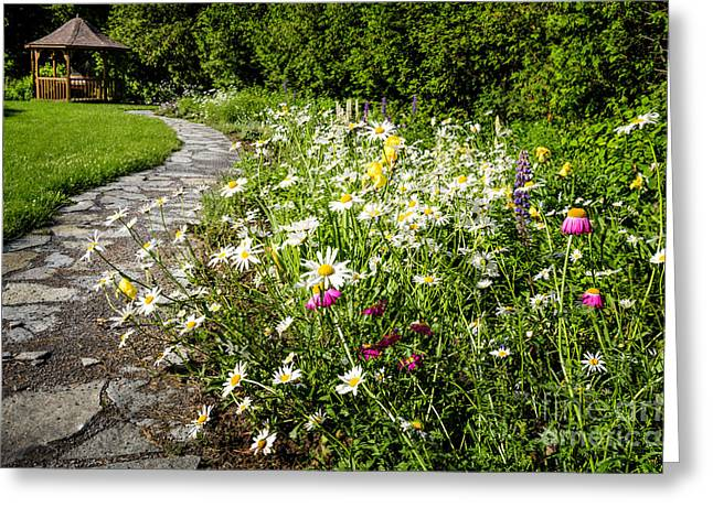 Flowering Greeting Cards - Wildflower garden and path to gazebo Greeting Card by Elena Elisseeva