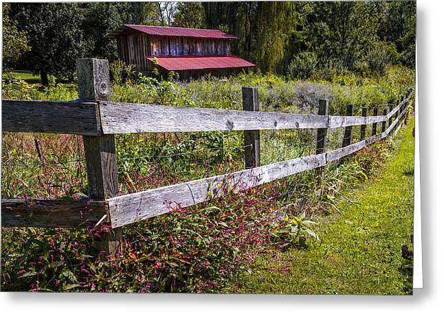 Red Roofed Barn Greeting Cards - Wildflowers at the Fence Greeting Card by Debra and Dave Vanderlaan