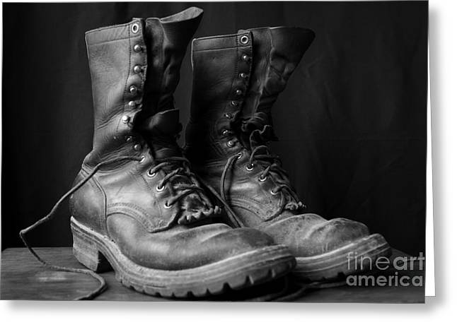 Wildland Fire Boots Still Life Greeting Card by Kerri Mortenson