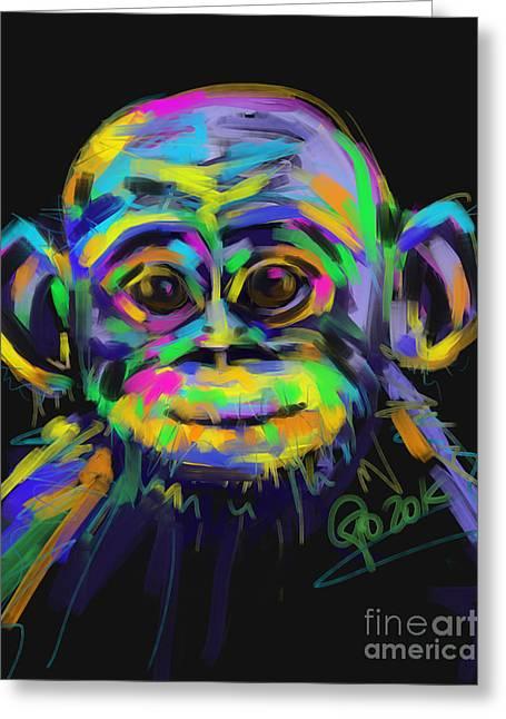 Monkeys Greeting Cards - Wildlife baby chimp Greeting Card by Go Van Kampen
