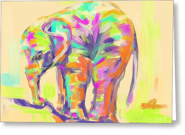Wildlife Baby Elephant Greeting Card by Go Van Kampen